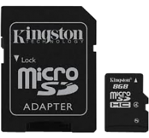Карта памяти Kingston Technology MicroSD HC 8 ГБ class 4 (с адаптером)